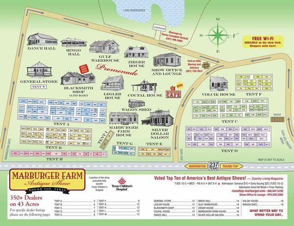 Round Top Texas Antique Show Map