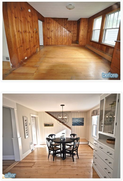 before after outdated paneled walls to fabulous space on wall paneling id=15678