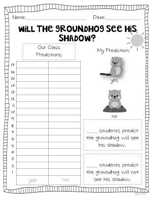 Miss Kindergarten: Groundhog Day Ideas: