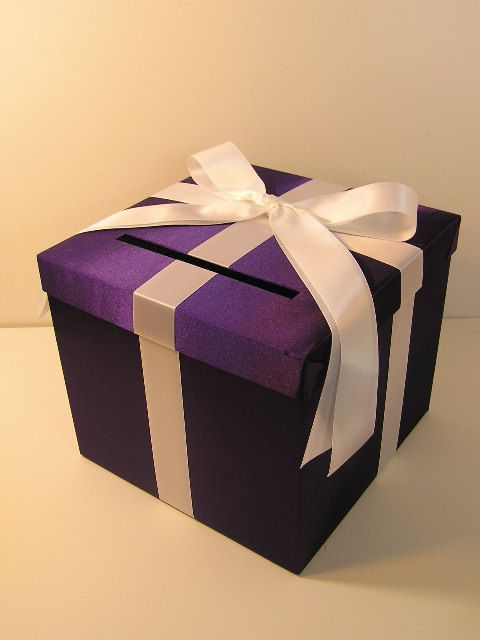 Purple and White Wedding Card Box Gift Card Box Money Box Holder-Customize your color: