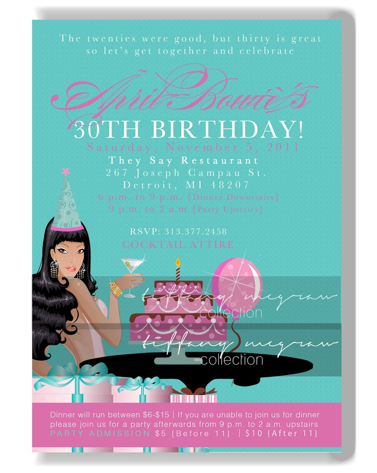 Chic 30th birthday party invitation by tiffanymcgraw on