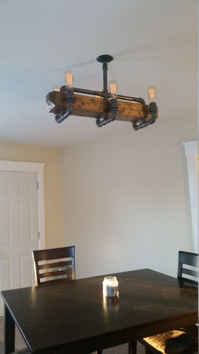 Distressed Wood Beam Chandelier Ceiling Pipe By Rural Creative Lighting Upcycling Pinterest