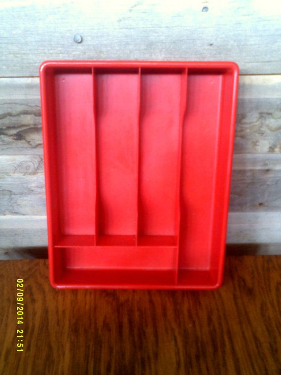 Vintage Mid Century Red Plastic Cutlery Drawer Tray