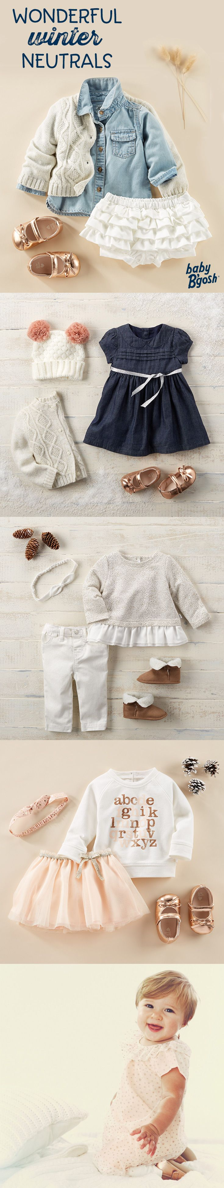 WONDERFUL WINTER NEUTRALS: A little pink and a lot of love goes into these looks from Baby B'gosh. Add a festive touch with tiny