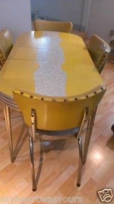 Vintage Retro Kitchen Table And Chairs MASTER KITCHEN YELLOW CRACKED ICE 1950s I Love