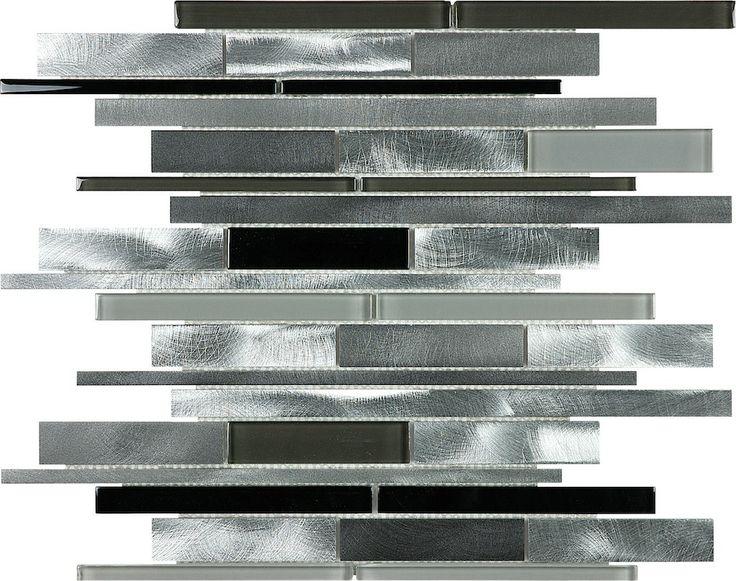 Carbon Blend Brushed Aluminum Glass Random Strip Mosaic