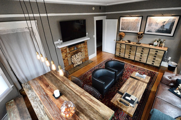 New Living Room Restoration Hardware Slate Gray Paint Africa Art Persian Rug Reclaimed Wood