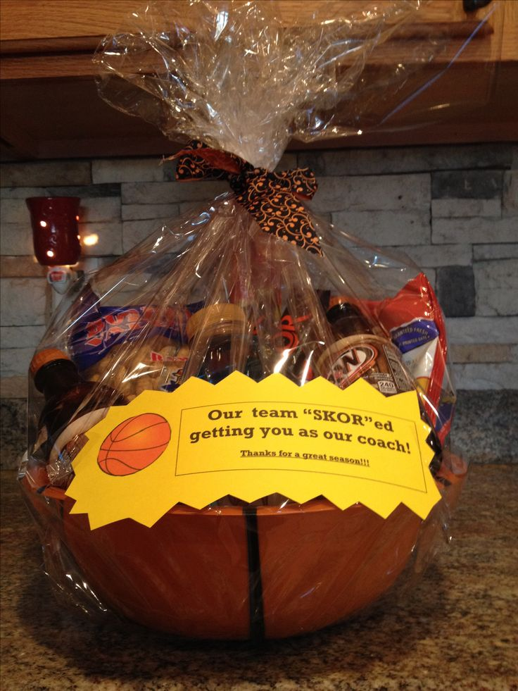 Gift Basket For Our Basketball Coach I Used A Basketball