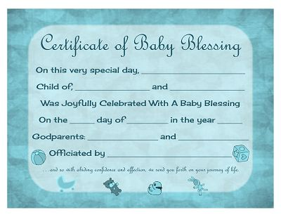 Certificate Of Baby Blessing Free Printable Template Prayers Quotes Scripture Printables