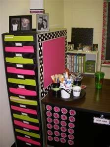 Like the use all parts of a bulky file cabinet. Paint it, scrapbook the drawers,
