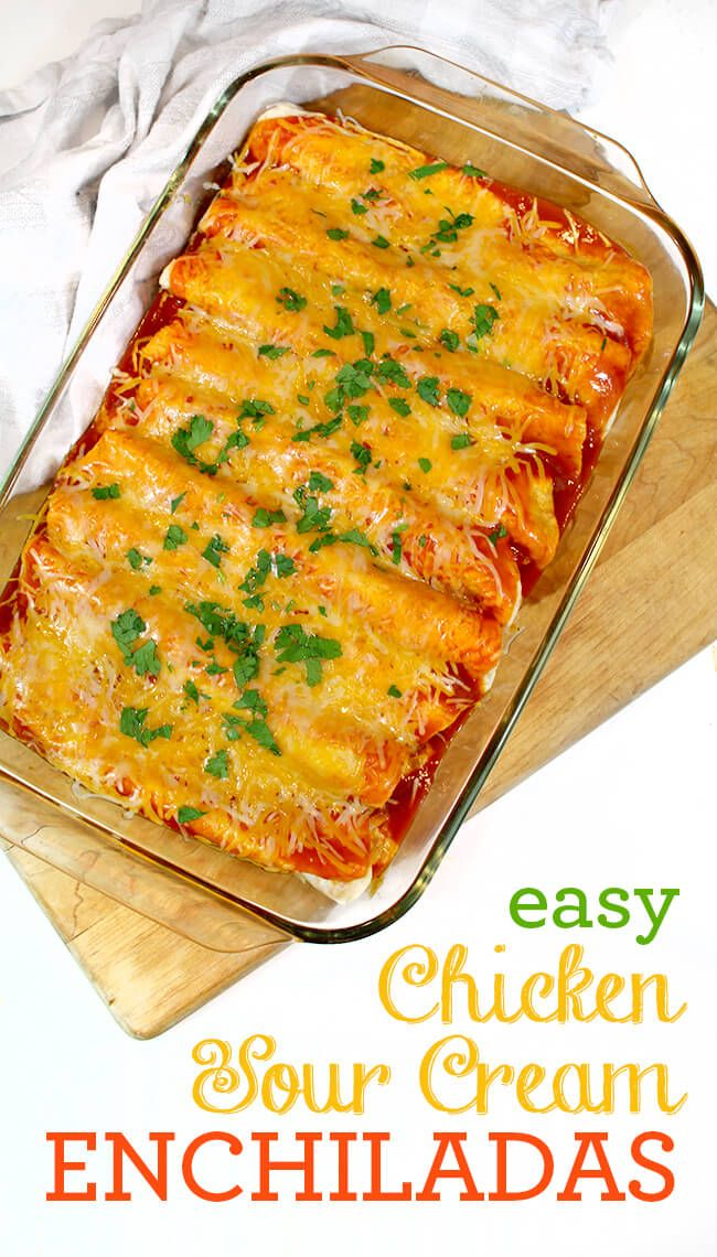This chicken enchilada recipe is very simple to make, and is a family favorite. The creamy chicken cheese filling has a great