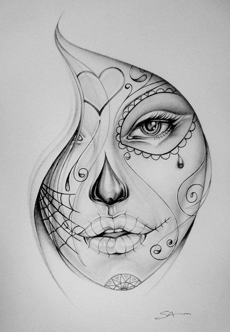 tattoo sketch. sugar skull face  art  pinterest  santa