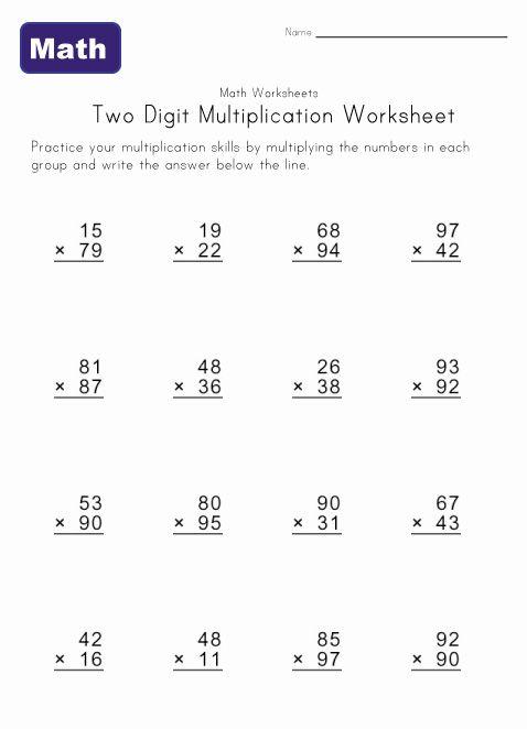 Two Digit Multiplication Worksheet 4