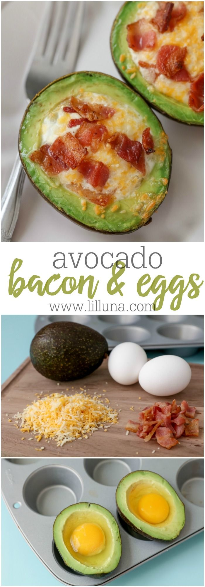 Avocado Bacon and eggs – one of our favorite breakfast recipes. Theyre topped