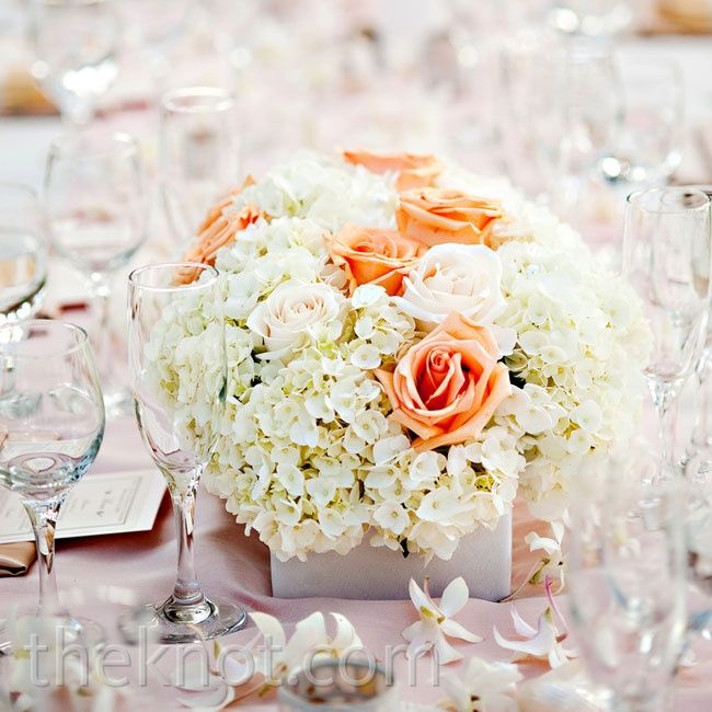 Hydrangea And Rose Centerpiece With More Burnt Orange