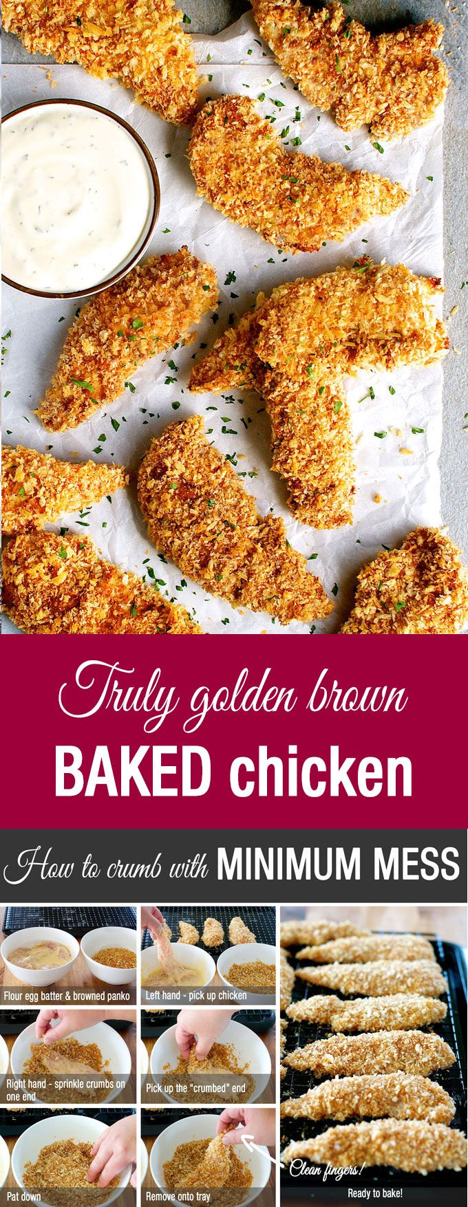 Truly Golden and Crunchy Baked Breaded Chicken Tenders (Crumbed) – how to make breaded / crumbed chicken in the oven that come out