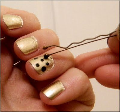 For DIY dots, just use a bobby pin. | 27 Lazy Girl Nail Art Ideas That Are Actua