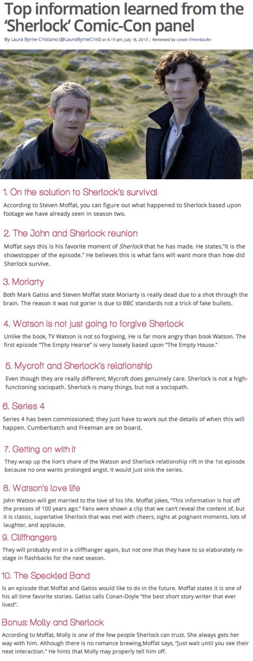 Information and clues about Sherlock Series 3 from Comic-Con. This calls for som