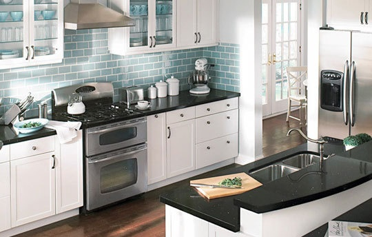 78 Best images about Kitchen on Pinterest | Countertops ... on Kitchen Backsplash For Black Countertop  id=27351