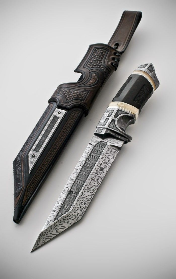 Dark fighter by Andre Andersson Custom Damascus Knives – Knives, Daggers, Swords