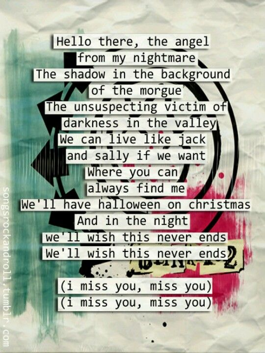 Blink-182 I miss you lyrics | this song has been stuck in ...