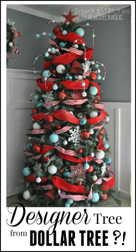 Sawdust2stitches remodelaholic Step by step directions on how to decorate a Christmas tree CHEAP!:Dollar store christmas decorations that look pretty, expensive and beautiful. Dollar Store Christmas Decorations on a budget that look amazing and trendy