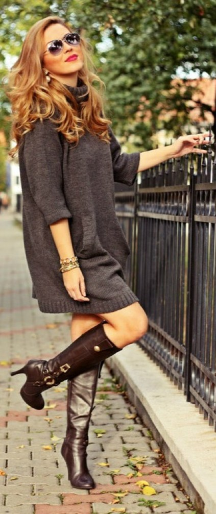 Sweater dress & boots for Fall #Fashion #Style #Look: