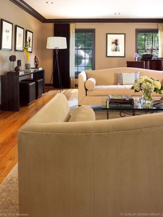 Living Room Brown Trim Beige Walls And Dark Brown Trim