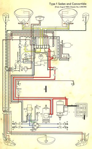 Wiring diagram in color 1964 VW bug, beetle, convertible