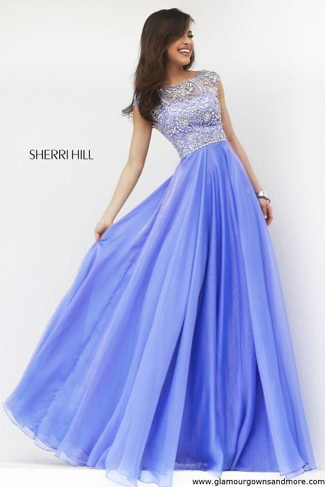 Stunning new fall dress from Sherri Hill! Long chiffon with high neck & cap sleeves! | GGM – Glamour Gowns and More