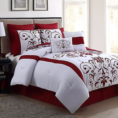New Queen Size Comforter Set 8 Piece Red Wine And White