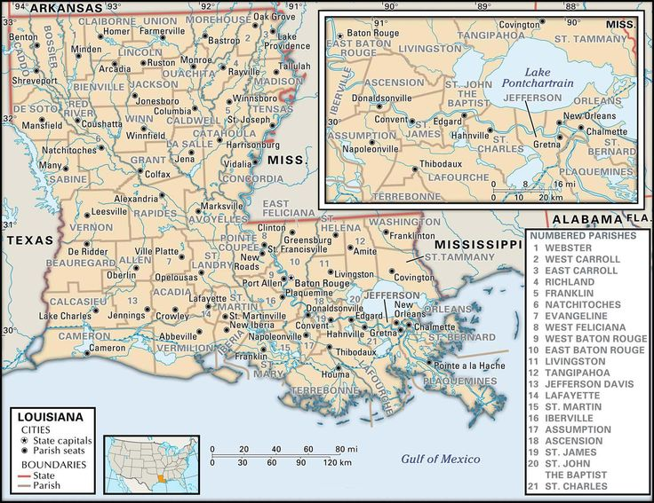 Map Parish Louisiana Ascension
