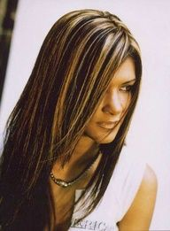 highlights in brown hair for girls with brown eyes   Blunt Bangs Haircut with Go