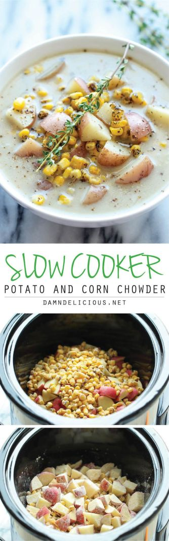 Slow Cooker Potato and Corn Chowder - The easiest chowder you will ever make. Throw everything in the crockpot and you're set!: