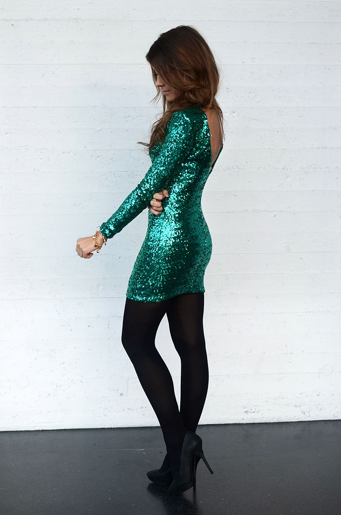 sparkly green New Year's dress
