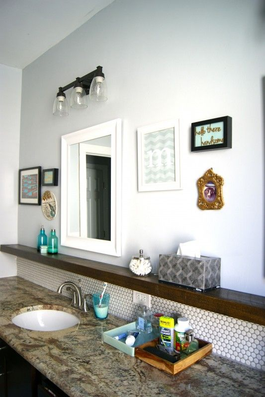 Penny Tile Backsplash Floating Shelf Below Mirror