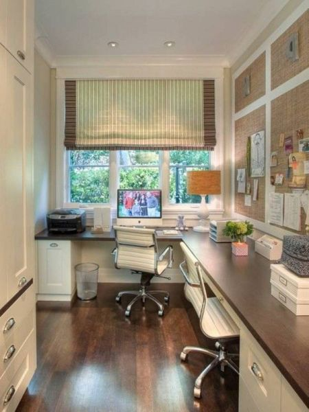 home office layout Home office layout idea. Efficient use of narrow space