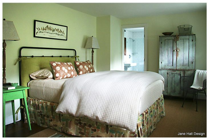 Country Style Bedroom Uses A Soft And Airy Celery Green On