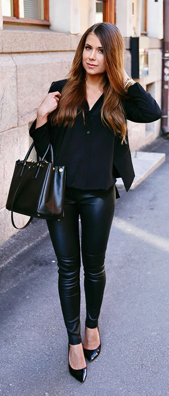 Black Leather Pants by Mariannan