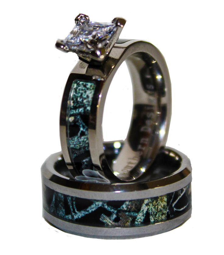 Black Camo On Silver Band Couples Ring Set With Stone