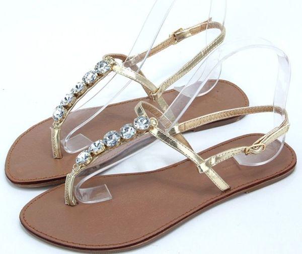 Wide Width Womens Sandals Flat Heel Gold Silver Casual ...