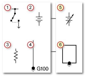 Automotive wiring basic symbols (1) Switch, (2) Battery, (3) Resistor, (4) Ground (5) Variable