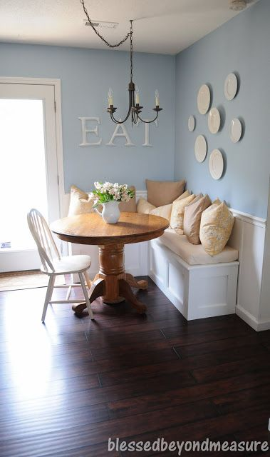 dining banquette with plate wall and corner bench, Blessed Beyond Measure