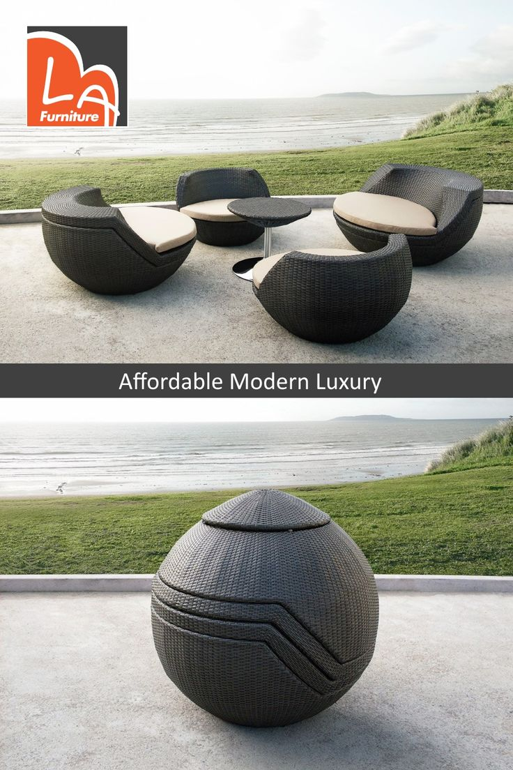 Ovum Modern Brown 5 Piece Egg Shaped Wicker Patio Set. Features rounded modern seat design, fabric padded seat cushion, and a