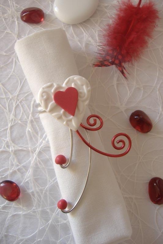 Rond De Serviette Rouge Et Blanc Coeur Ralis La Main