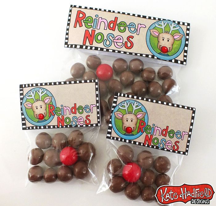 Reindeer Noses Printables. Fill a bag with some malted milk balls and one red Gobstopper (we can't forget Rudolph) for a super