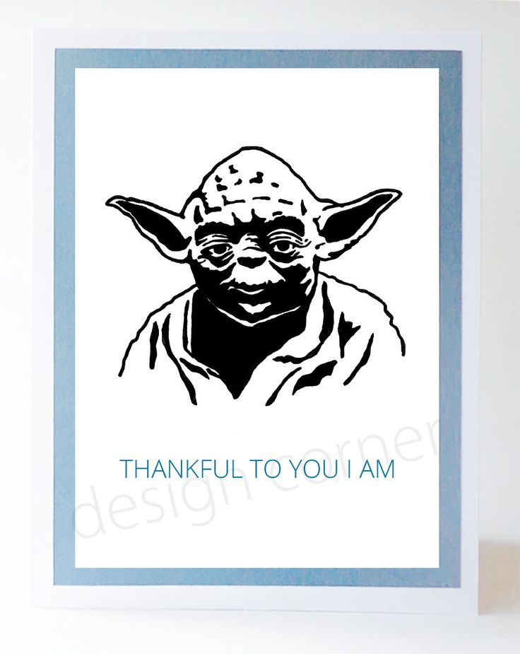 Funny Illustrated Star Wars Yoda Thank You Card Thank