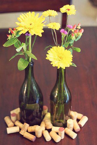 Diy Wildflower Wine Bottle Centerpieces Dinner Ideas