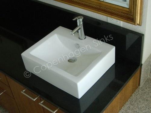 Square White Porcelain Ceramic Bathroom Vessel Sink