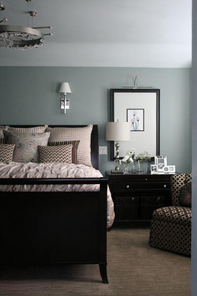 Color Spotlight Benjamin Moore Beach Gl Black Furniture Bedroom Ideasgray Green Wallsbrown Nightstand Decorblack